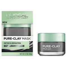 L'Oréal® Paris Pure-Clay Mask in Detox & Brighten (3 Pure Clays + Charcoal).