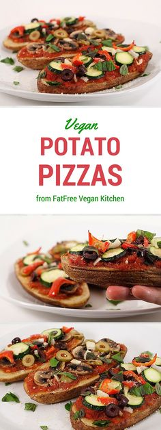 Vegan Potato Pizzas from FatFree Vegan Kitchen