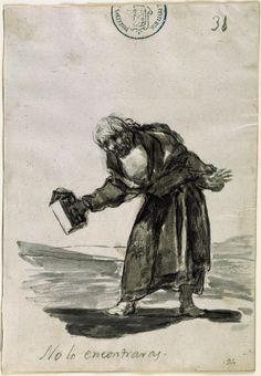 "Goya, El Prado Museum - ""No lo encontraras"" (You will not find it) Francisco Goya, Creepy Art, Weird Art, Charcoal Sketch, Spanish Artists, Old Master, Portraits, Dark Art, Printmaking"