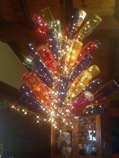 Wine bottle chandelierd