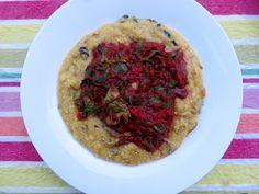 Polenta with mild mushrooms, marinara sauce and sautéed kale