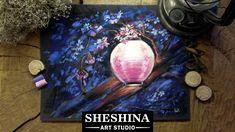 How to draw a Japanese Lantern on a blooming sakura with soft pastels  Sheshina Ekaterina