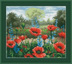 Wild Red Poppy Field of Flowers Counted by InstantCrossStitch