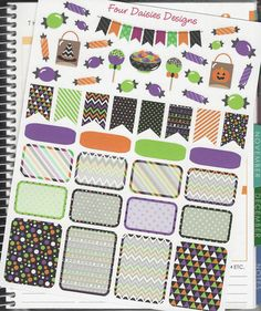 48 Trick or Treat Halloween Themed Stickers by FourDaisiesDesigns