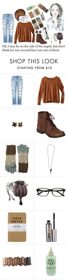 """""""oh, i may be on the side of the angels, but don't think for one second that i am one of them"""" by call-it-courage ❤ liked on Polyvore featuring Genetic Denim, H&M, Breckelle's, San Diego Hat Co., The Giving Keys, GE, Benefit, Urban Decay, Bed Head by TIGI and emilysfabfashion"""