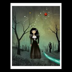 Zodiac Goth Girl with Constellation and Symbols by RusticGoth, $15.00