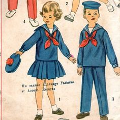 Simplicity 2402 50s Toddlers Sailor Pleated Skirt Pullover Top Pants Middy Vestee and Tie boys and girls nautical costume vintage sewing Pattern  | PatternGate - Craft Supplies on ArtFire