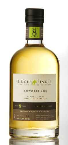 Single & Single - Bowmore 8yo. 46%. only 890 bottles. sea spray and wet tar combined with a hint of bitter lemon. peat is fresh and eager. sweet smoke and vanilla.