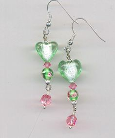 Breath of Spring Light Green Heart and Roses Earrings by AGreenWoods on Etsy
