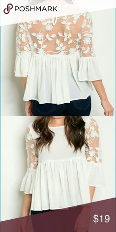 Coming soon off white top Comment to be tagged when its ready for sale . sizes: s,m,l Tops Blouses