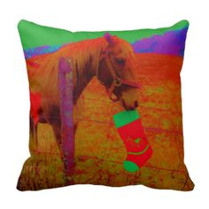 Retro Rainbow colored Christmas Horse Throw Pillow
