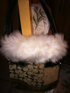Coach Purse with Fur Trim - ADORABLE! EUC!! F052-8K47