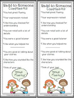 """Read-to-Someone compliments - mini anchor chart & personal anchor cards {freebie}. .....Follow for Free """"too-neat-not-to-keep"""" teaching tools & other fun stuff :)"""