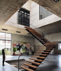 Solid Concrete Studio Gallery by ASWA located in Thailand _______ Tag or - Architecture and Home Decor - Bedroom - Bathroom - Kitchen And Living Room Interior Design Decorating Ideas - Escalier Design, Modern Stairs, Floating Stairs, Interior Stairs, Room Interior, Interior Design, House Stairs, Staircase Design, Staircase Ideas
