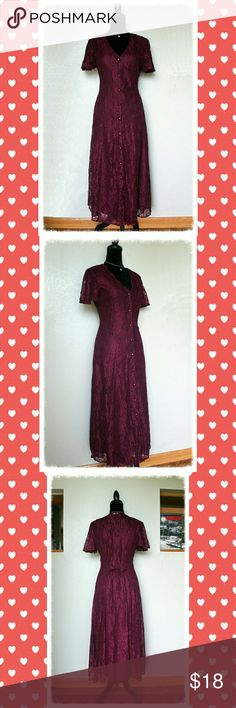 Maroon Lace Button Down Maxi Dress Pre-Owned; Excellent Condition  Size: It will fit SMALL frame but please check dress measurements below:  Bust: 33 - 34 inches Waist: 28- 30 inches Dress Length: 47 inches (from shoulder to hem)   Product Details: Lace all over Front button down closure tie back Flutter short sleeves Lightweight With slip dress that serves as a lining Dresses