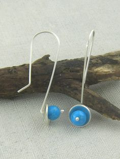 Silver and Turquoise Earrings. Sterling Silver and Turquoise Dangle Earrings. Handmade Jewelry by ZaZing Handmade Market, Etsy Handmade, Sterling Silver Earrings, Dangle Earrings, Glass Necklace, Turquoise Earrings, Handcrafted Jewelry, Beaded Jewelry, Jewelery