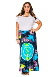 Horoscope Tie Dye Maxi Skirt - Ashley Stewart