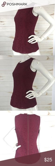 BR Wine Lace Full Zip Back Top In excellent condition  Size 6 Banana Republic Tops