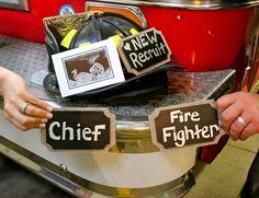Fireman Pregnancy Announcement Firefighter Pregnancy Announcement, Baby Number 2 Announcement, Cute Baby Announcements, Firefighter Baby, Baby Pictures, Baby Photos, Maternity Pictures, Fireman Baby Showers, Baby Arrival