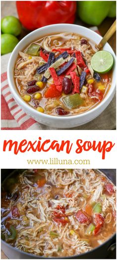 Best Mexican Soup Recipe - This Mexican Soup Is Packed With Beans, Shredded Chicken, Corn, Tomatoes And A Little Bit Of Heat. It's The Perfect Soup To Enjoy All Year Long. Salsa Ranchera, Salsa Picante, Mexican Soup Recipes, Dinner Recipes, Gourmet Recipes, Cooking Recipes, Healthy Recipes, Skinny Recipes, Slow Cooker Soup