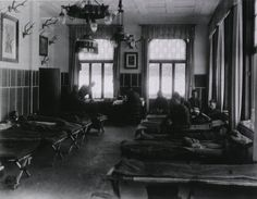 The interior of an influenza ward at a U.S. army field hospital  during the 1918 Spanish Flu pandemic