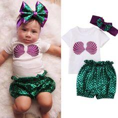 Baby Girls Mermaid  Print T-Shirt Top+Pants + Headband *3pcs Outfit *  Set