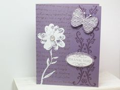 Thank you card in beautiful  perfect plum by cdesignsbycecelia, $3.75