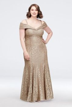 This sleek, stretch-lace mermaid plus-size dress glitters under the lights of the dance floor, as a cuffed cold-shoulder neckline creates a stunning focal point. By R&M Richards Polyester, spandex Back zipper; fully lined Hand wash Imported