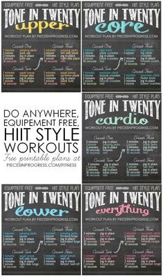 Tone in Twenty Workouts- 5 do anywhere HIIT style plans! #fitness #workoutplans…
