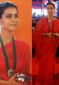 Kajol In Red Colored Saree During Durga Puja