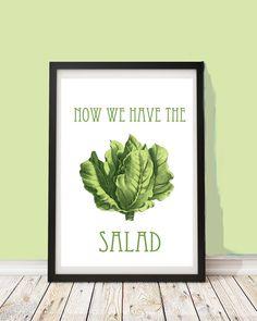 Lustiges Poster, Jetzt haben wir den Salat, Wanddeko, Wandgestaltung / funny art print with quote, wall decoration made by PapierMond via DaWanda.com