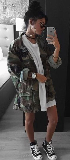 #summer #outfits  Army Jacket   White Tee Dress   Black Pumps