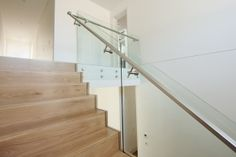 American Oak   Stained   Timber   Boxed Stair   Stainless Steel Handrail   Simple   Glass Balustrade   Distinctive   Contemporary
