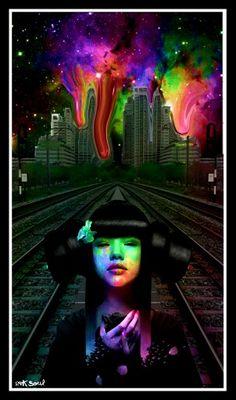 Trippy drippy sky. Psychedelic art.