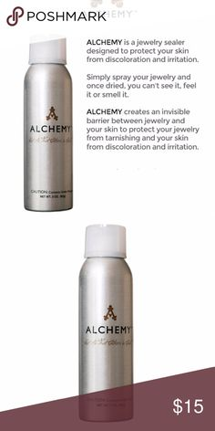 Alchemy Jewlery Sealer Alchemy is a jewelry sealer designed to protect your skin from discoloration and irritation. Simply spray your jewelry and once dried, you can't see it, feel it or smell it. Alchemy creates an invisible barrier between jewelry and your skin to protect your jewelry from tarnishing and your skin from discoloration and irritation. Alchemy Jewelry