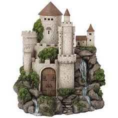 Vivid Arts-Miniature World Waterfall Castle Fairy House, Fairy Garden Miniature Fairy Gardens, Miniature Houses, Fairy Garden Ornaments, Fairy Garden Houses, Woodside Garden Centre, Fairy Fountain, Clay Fairy House, Garden Waterfall, Craft Rooms