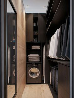 Black laundry room - with narrow design Mirror on long wall in master bath
