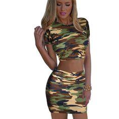 aae254187 JOYINPARTY Camouflage female set short top and skirt mini lady shirt pencil  skirt girls summer clothes