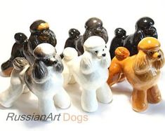 Poodle (black, apricot, white, gray) dog porcelain figurine handmade statuette #Poodle