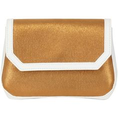 A DI ALCANTARA Limit.Ed Alcantara Small Clutch (615 BRL) ❤ liked on Polyvore featuring bags, handbags, clutches, clutches / wallets / purses, gold, brown leather purse, accessories handbags, gold purse and flap purse