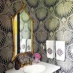 Farrow & Ball Lotus wallpaper for water closet Powder Room Wallpaper, Bathroom Wallpaper, Office Wallpaper, Lotus Wallpaper, White Wallpaper, Leontine Linens, Powder Room Design, Interior And Exterior, Interior Design
