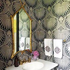 Farrow & Ball Lotus wallpaper powder room