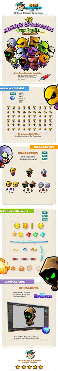2D Game Enemies Character Sprites Bundle Pack 02 — Vector EPS #modern #game enemies • Available here → https://graphicriver.net/item/2d-game-enemies-character-sprites-bundle-pack-02/14463571?ref=pxcr