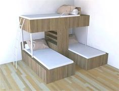 Conserving Space And Staying Trendy With Triple Bunk Beds Wonderful Ideas of Triple Bunk Beds for Your Kids' BedroomDitch the traditional Bunk Beds for these 10 fresh Free DIY Bunk Bed Plans & Ideas that Will… Bunk Beds With Stairs, Kids Bunk Beds, Bunk Bed Ideas For Small Rooms, Cool Bunk Beds, Boys Bunk Bed Room Ideas, Corner Bunk Beds, Modern Bunk Beds, Loft Spaces, Small Spaces