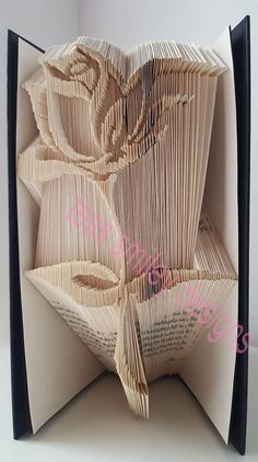 Cat with heart folded book art book sculpture cat lover gift elegant rose book folding pattern only 300 pages bookart book folding art fandeluxe Image collections