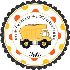 Construction Dump Truck w/Wide Polka Dot Border design.  Personalized stickers by partyINK.