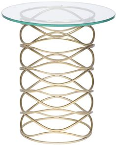 Details: - Collection: Barry Goralnick - Finish: Bracelet Brass Base - Clear Glass Top - Materials: Metal, Glass Measurements: - Dimensions: w x d x h End Table Sets, End Tables With Storage, Side Tables, Lane Furniture, Eclectic Design, Brass Metal, Cocktail Tables, Martini, Clear Glass