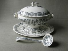 old ironstone soup tureen - black transfer, T & R Boote