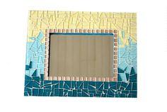 Ombre Mosaic Mirror Teal Aqua Yellow