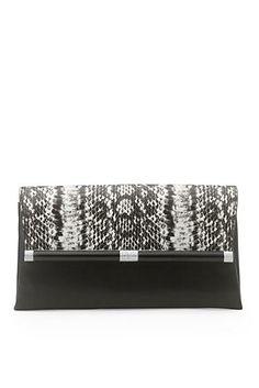 440 Envelope Printed Leather Clutch In Black/ White Black Snake